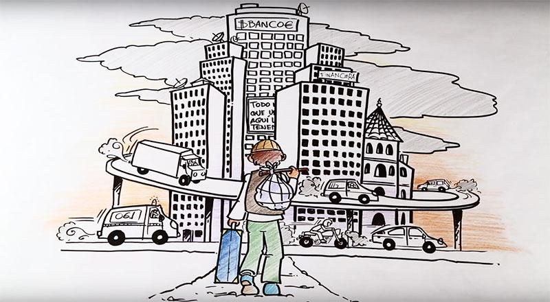 Fotograma del vídeo ilustrado Alimenta tu Comarca. Proyecto BioCor de Subbética Ecológica. Ilustraciones de Javier Bravo. En la imagen se ve un agricultor emigrando a la ciudad.