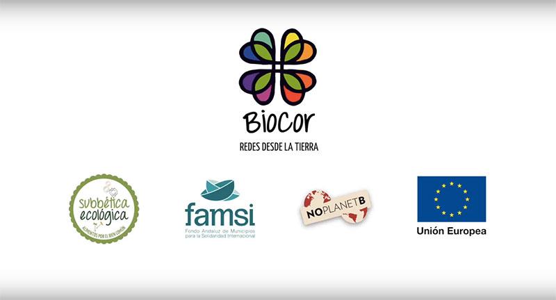 Fotograma detalle del vídeo Canal Corto Internacional. Integrante del proyecto BioCor, en el fotograma se ven las entidades patrocinadoras del proyecto.