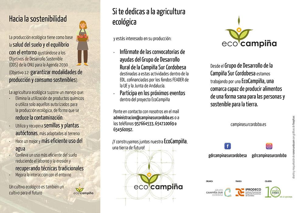 Tríptico digital en el marco de la Jornada EcoCampiña para promocionar la producción ecológica.